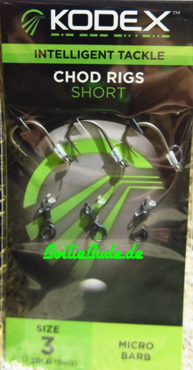 KODEX Short Chod Rigs, Größe 3, 20lb Stärke