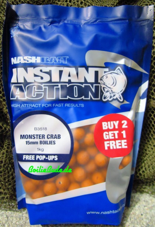 Nashbait Instant Action Monster Crab Boilies 15mm, 1kg