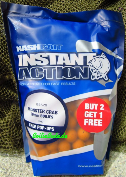 Nashbait Instant Action Monster Crab Boilies 20mm, 1kg