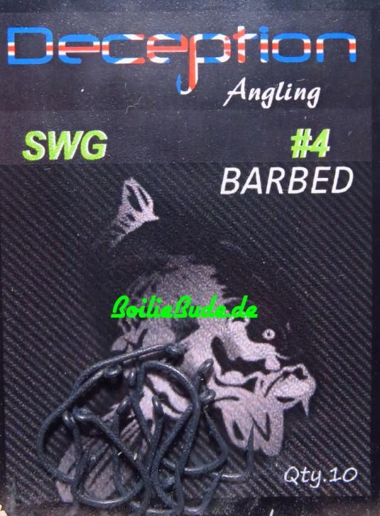 Deception Angling D-SWG Haken Größe 4 mit Widerhaken