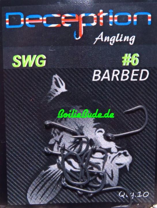 Deception Angling D-SWG Haken Größe 6 mit Widerhaken