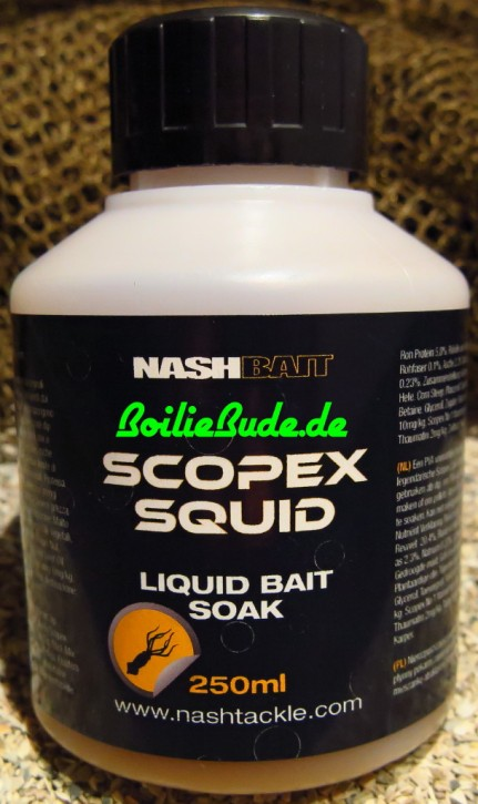 Nashbait Scopex Squid Liquid Bait Soak 250ml
