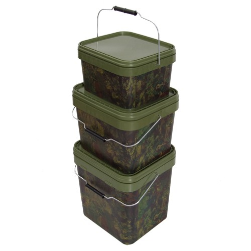 Gardner Tackle Camo Square Bucket Medium, 10 Liter