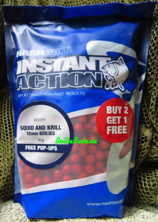 Nashbait Instant Action Squid & Krill Boilies 12mm, 1kg
