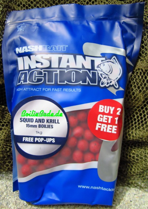 Nashbait Instant Action Squid & Krill Boilies 15mm, 1kg