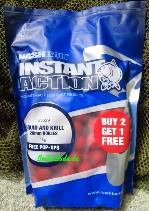 Nashbait Instant Action Squid & Krill Boilies 20mm, 1kg