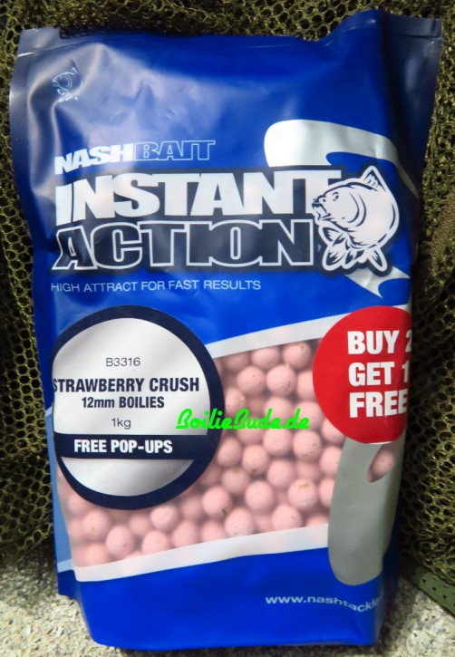 Nashbait Instant Action Strawberry Crush Boilies 12mm, 1kg