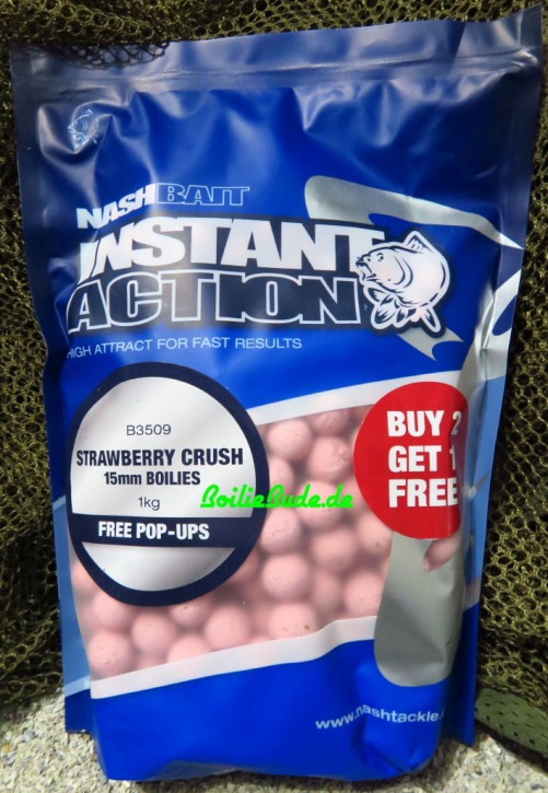 Nashbait Instant Action Strawberry Crush Boilies 15mm, 1kg