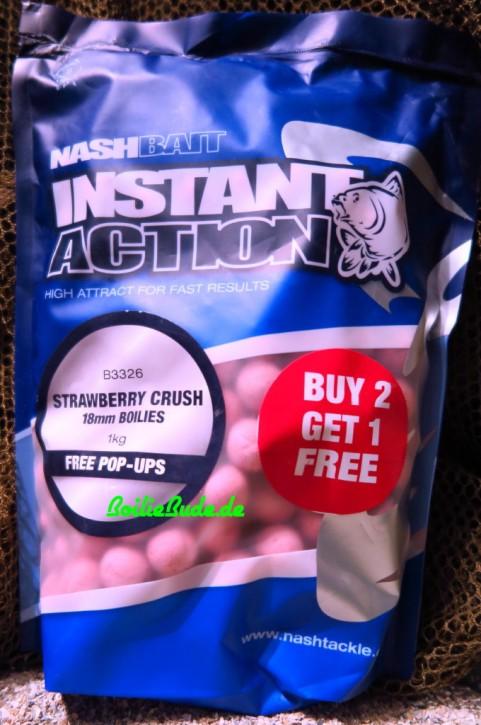 Nashbait Instant Action Strawberry Crush Boilies 18mm, 1kg