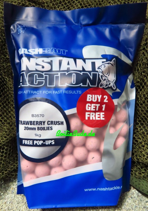 Nashbait Instant Action Strawberry Crush Boilies 20mm, 1kg