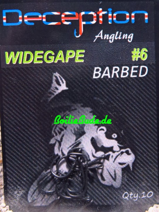 Deception Angling Wide Gape Haken Größe 6 Barbed, mit Widerhaken