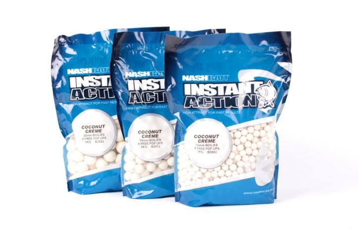 Nashbait Instant Action Coconut Creme Boilies 15mm, 1kg