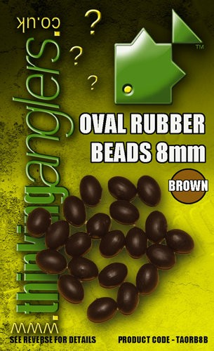 Thinking Anglers Oval Rubber Beads 8mm Brown