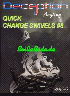 Deception Angling No.8 Quick Change Swivels, 10 Stück