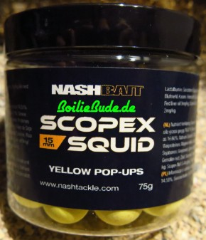 Nashbait Scopex Squid Yellow Pop Up´s 15mm, 75gr.